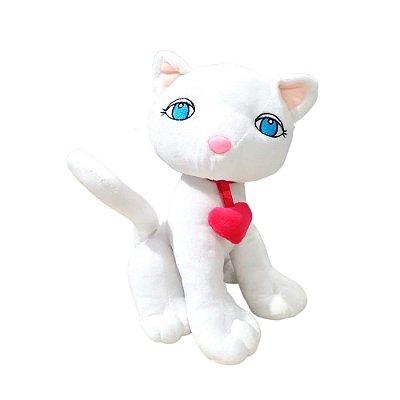 Gatinha de Pelúcia Branca Com Coração 25cm