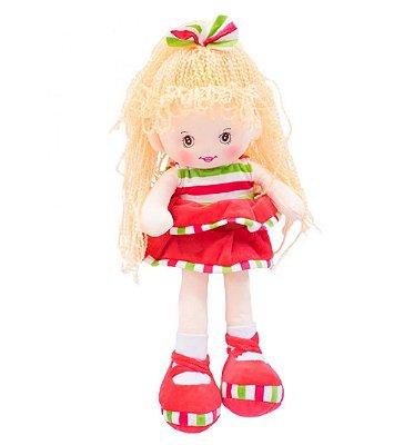 Boneca Pelúcia Laço Cabelo Saia Vermelha 40cm