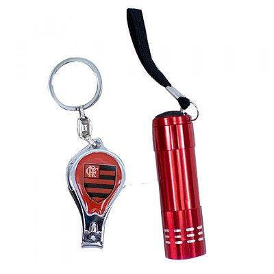 Kit Flamengo Com Chaveiro Lanterna e Cortador de Unha