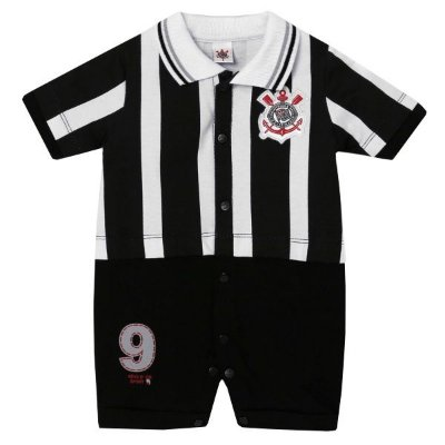 Macacão Bebê Corinthians Uniforme Campo Oficial