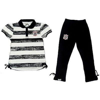 Conjunto Infantil Corinthians Polo e Legging Oficial