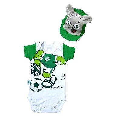 Body Palmeiras Com Boné Porquinho Oficial