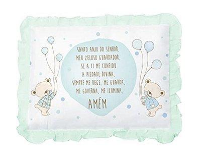 Travesseiro Bebê Com Oração e Babado Verde Papi