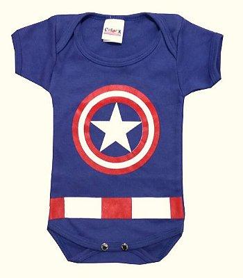 Body Bebê Capitão América Manga Curta