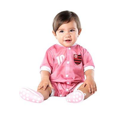 Macacão Bebê Flamengo Curto Rosa - Torcida Baby
