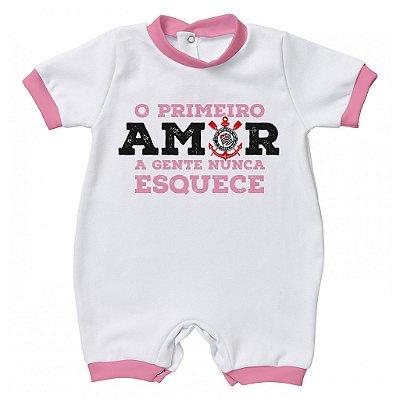 Macacão Corinthians Primeiro Amor Rosa - Torcida Baby