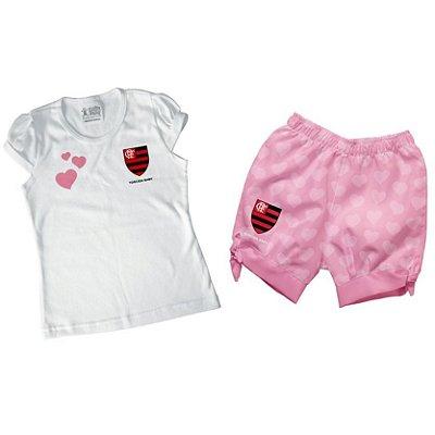 Conjunto Bebê/Infantil Flamengo Rosa - Torcida Baby