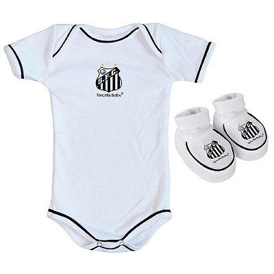 Body e Pantufa Santos Branco - Torcida Baby
