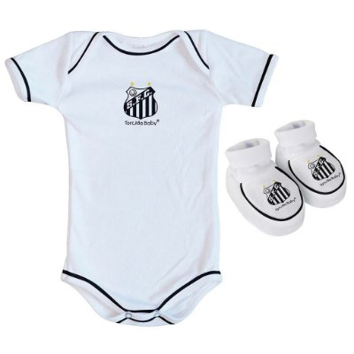 Body e Pantufa Bebê Santos Branco - Torcida Baby