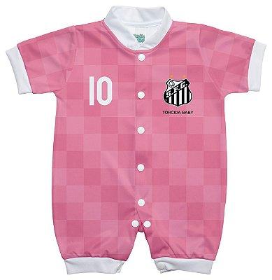 Macacão Bebê Santos Curto Rosa - Torcida Baby