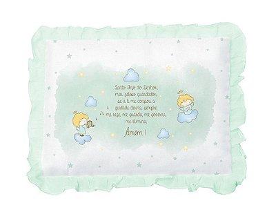 Travesseiro Bebê Com Oração Anjinho e Babado Verde Papi
