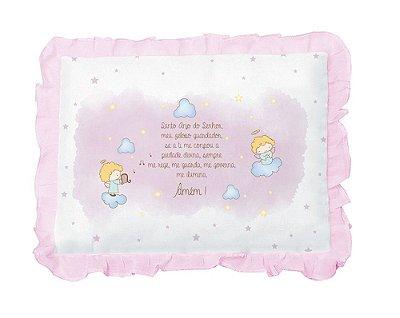 Travesseiro Bebê Com Oração Anjinho e Babado Rosa Papi