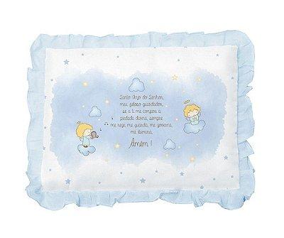 Travesseiro Bebê Com Oração Anjinho e Babado Azul Papi