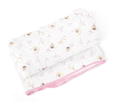 Cobertor Bebê Flanelado Fada Lua Rosa 1,10m X 90Cm Papi