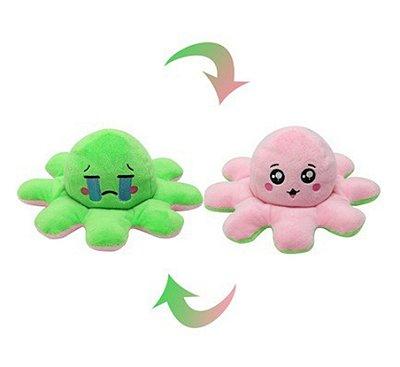 Polvo do Humor Reversível Pelúcia Verde e Rosa 20cm