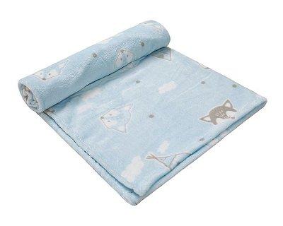 Cobertor Bebê Microfibra Azul Raposa 1,10 X 85cm Papi