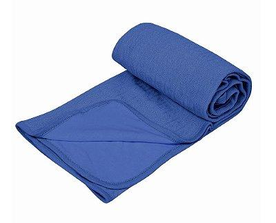 Manta Bebê  Tricot Com Forro De Malha Azul Marinho Papi