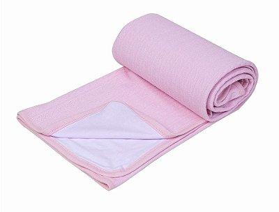 Manta Bebê Tricot Com Forro De Malha Rosa Papi