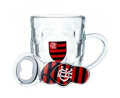 Caneca De Vidro Com Abridor Flamengo 310ml