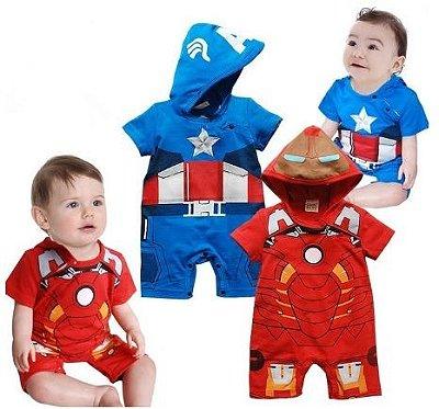 Macacão Bebê Super Heróis Curto