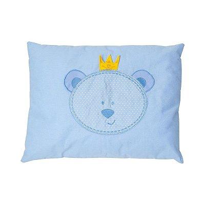 Travesseiro Bebê Bordado Urso Azul - Papi