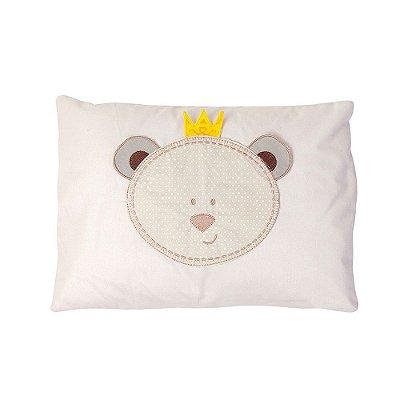 Travesseiro Bebê Bordado Urso Bege - Papi