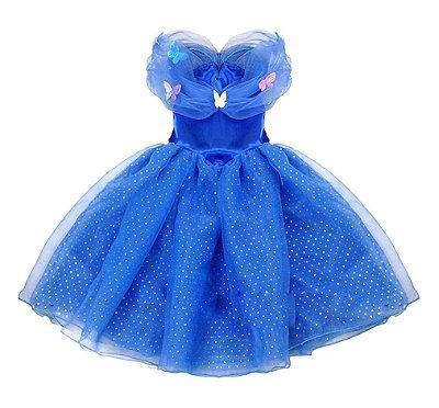 Vestido Fantasia Infantil Cinderela Azul Escuro