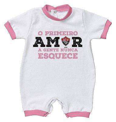 Macacão Bebê Vitória Primeiro Amor Rosa Oficial