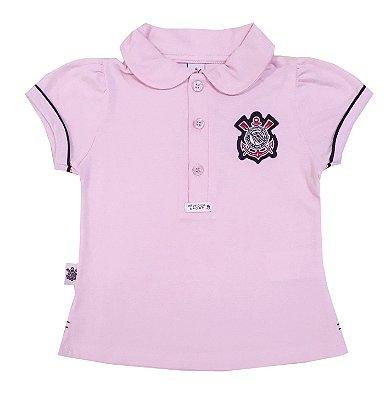 Camisa Polo Infantil Corinthians Rosa Oficial
