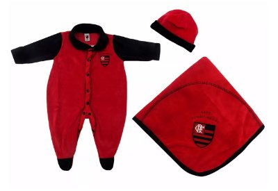 Kit Bebê Flamengo Macacão Manta e Gorro Plush Oficial