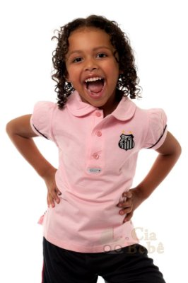 Camisa Polo Infantil Santos Rosa Oficial