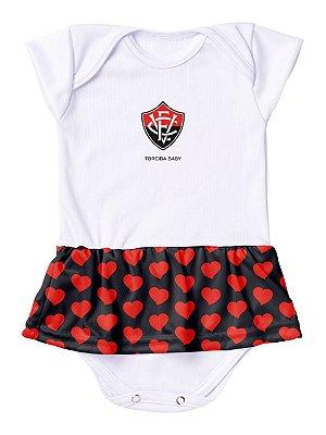 Body Vestido Vitória Corações Torcida Baby