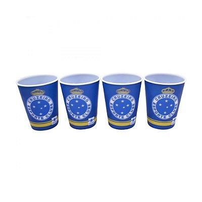 Jogo Com 4 Copos de Plástico 3D Cruzeiro - 400ml