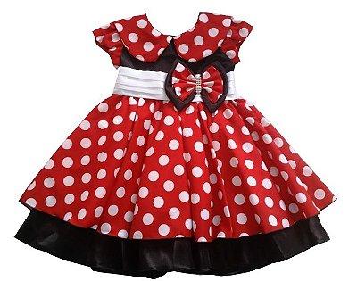 Vestido Infantil Minnie Faixa Branca