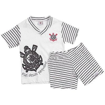 Pijama Infantil Corinthians Curto Oficial