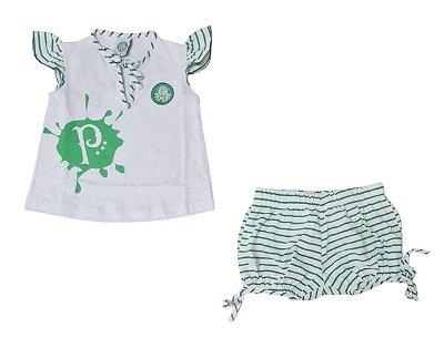 Pijama Infantil Palmeiras Curto Feminino Oficial