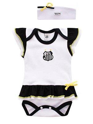 Body Vestido Bebê Santos com Tiara Oficial