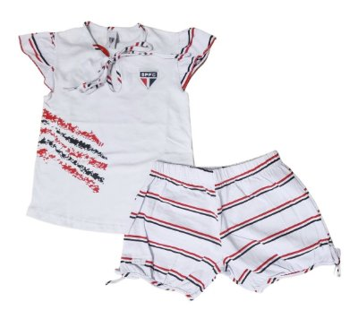 Pijama Infantil São Paulo Curto Feminino Oficial