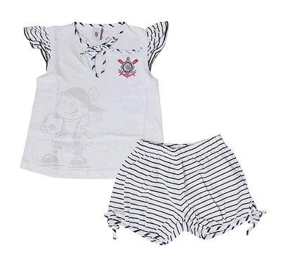 Pijama Infantil Corinthians Curto Feminino Oficial