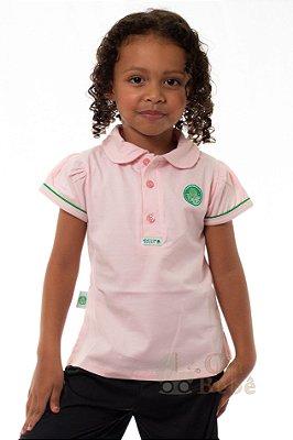 Camisa Polo Infantil Palmeiras Rosa Oficial