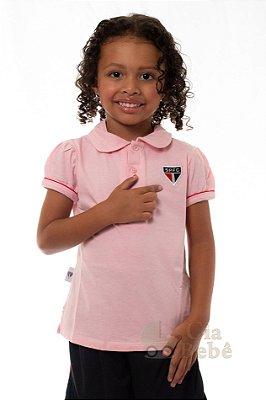 Camisa Polo Infantil São Paulo Rosa Oficial