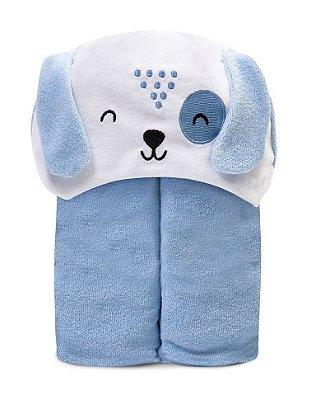 Toalha De Banho Bebê Forrada C/ Capuz Bordado Azul Papi