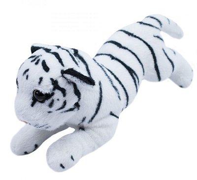 Pelúcia Tigre Branco Filhote Deitado Realista 25cm