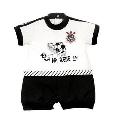 Macacão Bebê Corinthians Curto Bola na Rede Oficial