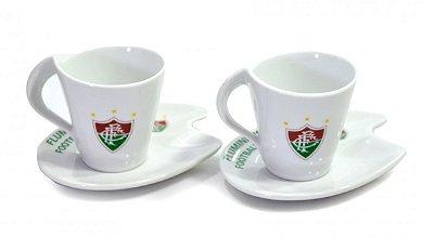 Jogo Com 2 Xícaras De Porcelana Fluminense 90ml