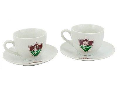 Jogo Com 2 Xícaras De Porcelana Fluminense 80ml