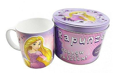 Caneca De Porcelana Na Lata Rapunzel 350ml