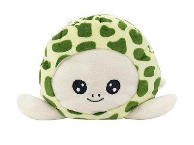 Tartaruga do Humor Reversível Pelúcia Verde e Marrom 14cm