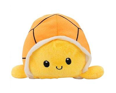 Tartaruga do Humor Reversível Pelúcia Laranja e Amarela 13cm