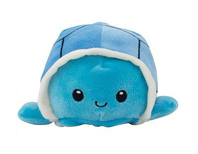Tartaruga do Humor Reversível Pelúcia Azul 13cm